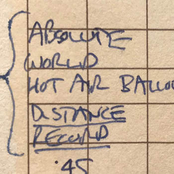 World distance record pilot logbook notation